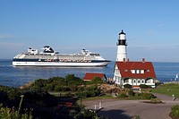 Portland Head Light in Cape Elizabeth, Maine, USA  The lighthouse sits at the southern edge of Casco Bay and is the 2nd oldest lighthouse in the US  P...