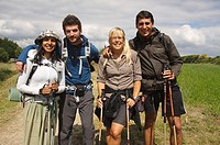 Pilgrims of different nationalities have a picture taken as a memento in his journey along the Camino de Santiago. Sarria, Province of Lugo, Galicia, ...