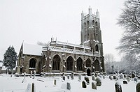 Wrington All Saints Church in the snow  Wrington Somerset, England, United Kingdom