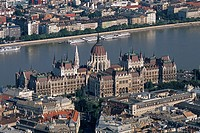 aerial views of Hungary´s cultural heritage: Budapest, capital of H  On the Pest side, opposite the castle district of Buda, facing the Danube, is the...