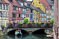 Colorful façades of timber framed houses at Petite Venise / Little Venice, Colmar, Alsace, France