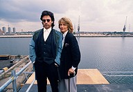 Jean Michel Jarre and Charlotte Rampling in the Isle of Dogs docklands in London in England in Great Britain in the United Kingdom UK Europe