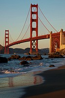 North America, USA, California, San Francisco  Golden Gate Bridge from Marshall Beach