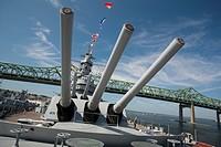Battleship Massachusetts, Fall River, MA Battleship Cove, Braga bridge in background, U.S.A.