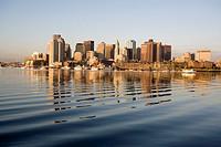 Harbor skyline at sunrise from East Boston, Massachusetts, USA