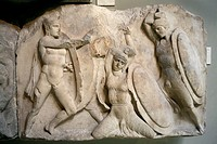marble bas-relief of the Nereid Monument at Xanthos stated in Greek art room of the British Museum in London
