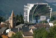 Solar furnace at Odillo completed 1970 in the French Pyrenees  63 flat mirrors automatically track the sun and concentrate the light on a parabolic re...