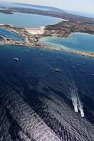 Es Savina harbor, Des Peix lagoon on the right, Pudent lagoon on top, Formentera, Balearic Islands, Spain