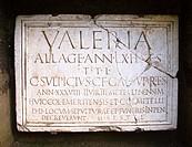Inscripción en una lápida de los Columbarios - Ruinas de la ciudad romana de Emérita Augusta, Patrimonio de la Humanidad - Mérida - Provincia de Badaj...