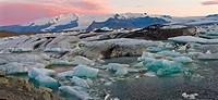 Icebergs  Sunrise at Jökulsárlón Glacier Lagoon  Iceland.