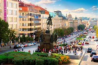 Wenceslas Square and monument to St  Vaclav in Prague, Czech Republic