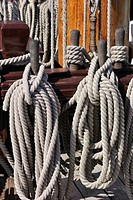 Ropes coiled around belaying pins aboard the Grand Turk / Etoile du Roy, a three_masted sixth_rate frigate replica of HMS Blandford, built in 1741 and...