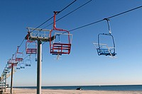 Seaside Heights New Jersey USA chair lift ride on the beach running along the boardwalk