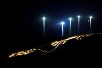 Lights of fishing boats off the coast of Cerdigo, Castro Urdiales, Cantabria, Spain.
