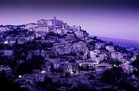 France,Provence, Gordes, Hilltop village at night