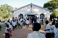 Zimbabwe, Mashonaland Central, Nyachuru Township. May 2010. End of the Sunday Service at the Salvation Army Nyachuru Citadel.