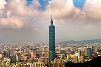 Taipei 101 skyscraper dominates the cityscape of Taipei, Taiwan.
