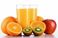 Glasses of orange juice and fruits isolated on white