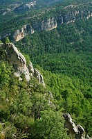 Hosquillo landscape from the viewpoint of the rock of the Clock. Natural Park of the Serrania de Cuenca