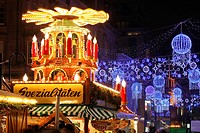 The German Market in Bimingham City Centre at Christmas  Christmas lights and decorations