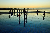 Croatia, Zadar, sunset, people, Greeting to the Sun monument,