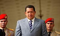 Venezuela´s President Hugo Chavez salutes to journalists in Miraflores Palace in Caracas, Venezuela.