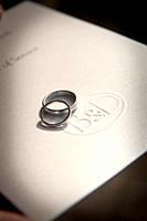 intertwined wedding rings on a copy of the order of marriage service , UK