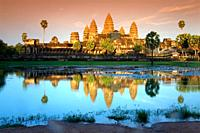 sunset in Angkor Wat  Angkor temples  Cambodia, Asia