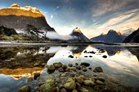 Mitre peak, winter dawn, Milford Sound, Fiordland National Park.