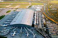 Heathrow airport aerial view, London, UK, England