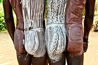 Surma men with body paintings on the back, Tulgit, Omo river valley, Ethiopia