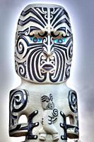 Maori carved wooden statue, mother and child, Government Gardens, Rotorua.