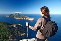 Hiker watching at Sa Dragonera from Majorca, Spain