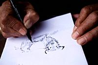 Drawing a bull, Las Ventas bullring, Madrid, Spain