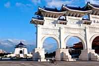 Asia, Taiwan, Taipei, Chiang Kai Shek memorial hall arch daylight