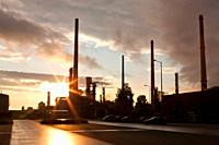 Sunset over an oil refinery in southern germany.