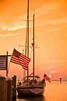 Maryland, Chesapeake Bay, Tilghman Island Marina, yacht at sunset