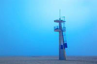 Lifeguard tower on Playamar beach in off-season on foggy day  Torremolinos, Malaga Province, Costa del Sol, Spain