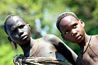 Young Mursi boys near Jinka, Omo region, Ethiopia