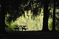 A picnic bench waits for revelers to enjoy an emerald-green lake
