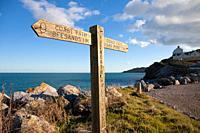 England Devon North Hallsands with signpost for South Devon coast path