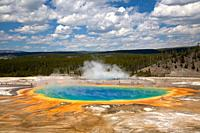 Grand Prismatic Spring shows its true colors at Yellowstone National Park, Wyoming