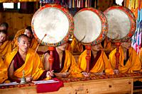 Monks chanting in the temple