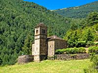 Tower of the Romanesque church - San Bartolome Mozarabic Gavín - Biescas - Serrablo - Alto Gallego - Province of Huesca - Aragon - Aragon Pyrenees - S...