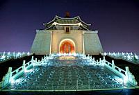 Facade Door Sculpture Chiang Kai-Shek Memorial Monument Hall Taipei Taiwan at Night Stars
