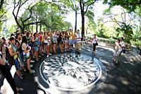 People at the imagine Mosaic, Strawberry Fields, Central Park, New York City, USA