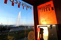 View of Jet D`eau from a telephone booth of swisscom, Geneva, Switzerland