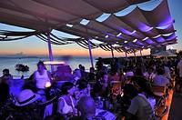 Sant Antoni beach at sunset, Ibiza, Balearic Islands, Spain