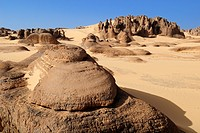 sandstone rock formation at Tin Akachaker, Tassili du Hoggar, Wilaya Tamanrasset, Algeria, Sahara desert, North Africa