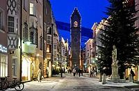 Italy, South Tyrol, Sterzing (Vipiteno), Zwölferturm (it. Torre delle Dodici), christmas